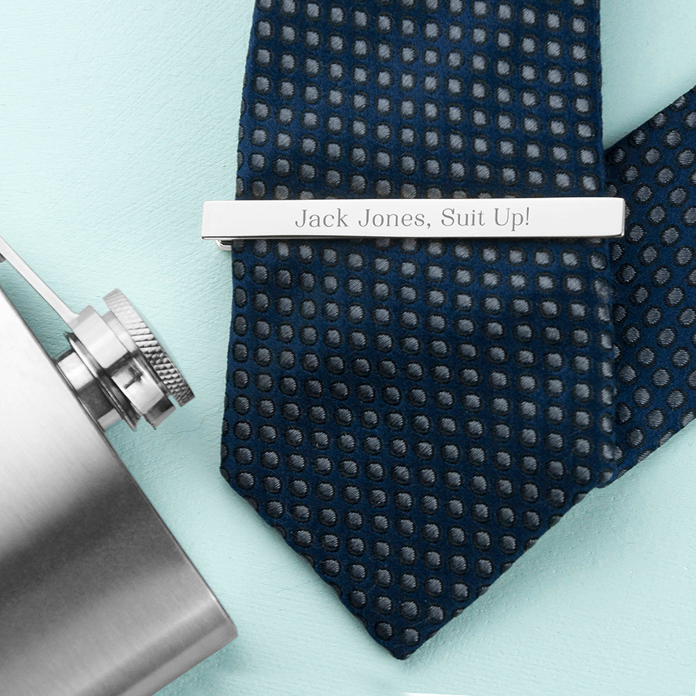 Personalised Rhodium Plated Tie Clip - treat-republic