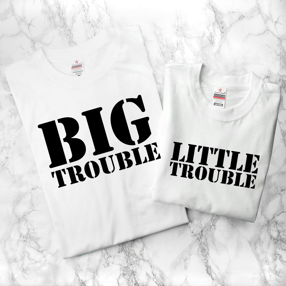 Personalised Daddy and Me Here Comes Trouble White T-Shirts - treat-republic