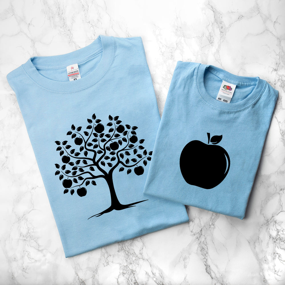 Personalised Daddy and Me Apple Blue T-Shirts - treat-republic