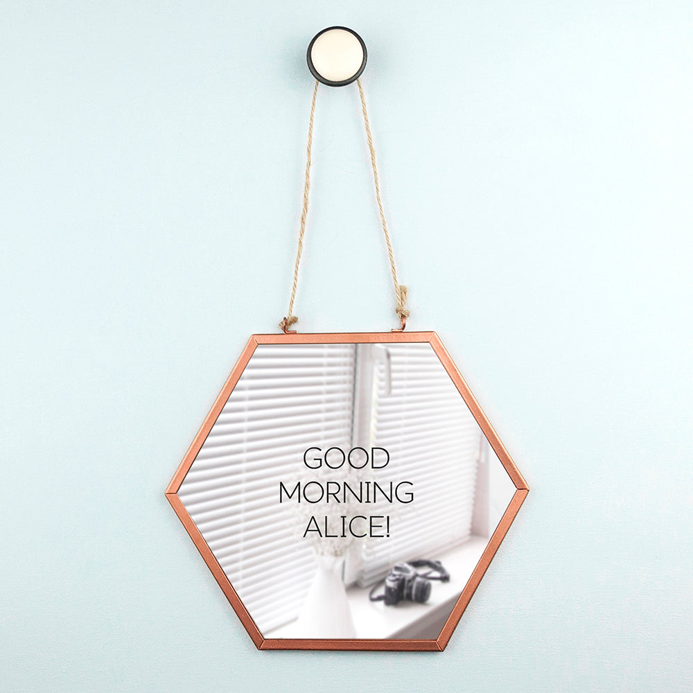 Personalised Hexagon Copper Mirror - treat-republic