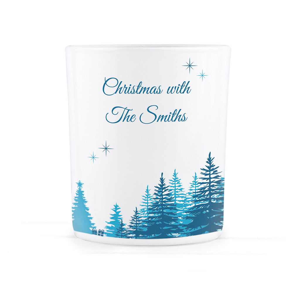 Personalised Christmas Scene Glass Tealight Holder - treat-republic