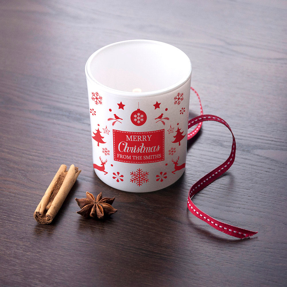 Personalised Festive Print Glass Tealight Holder - treat-republic