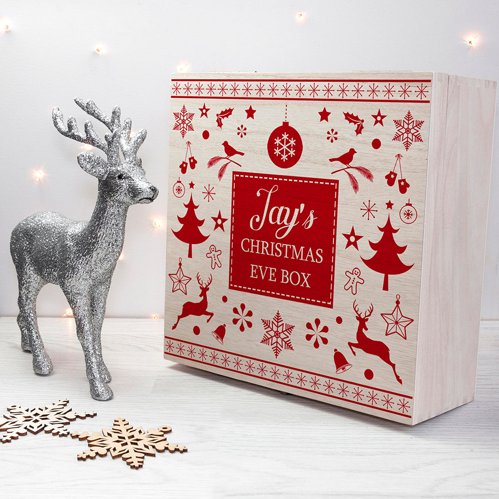 Personalised Festive Scandi Print Christmas Eve Box - treat-republic