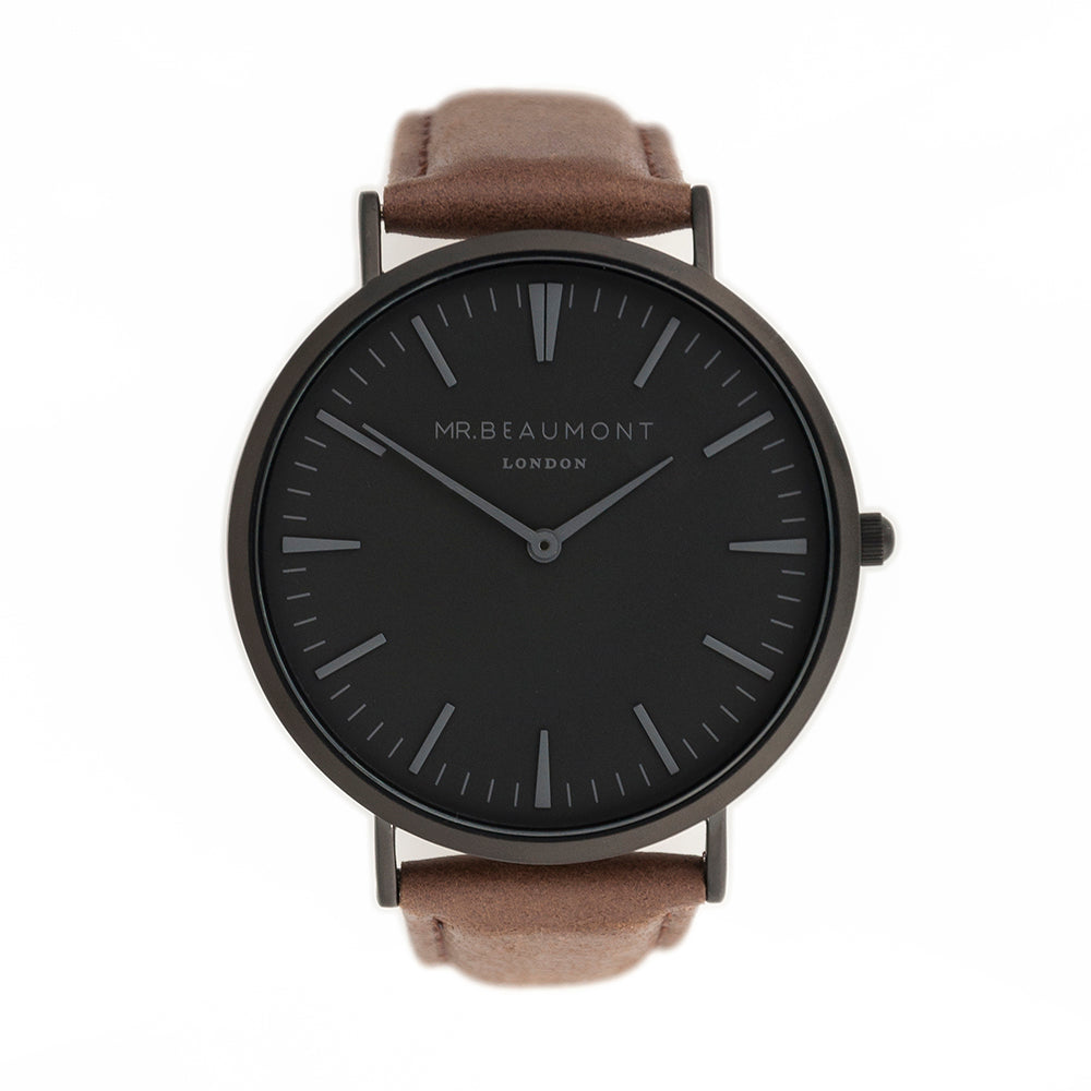 Mr Beaumont Mens Personalised Watch With Black Face in Brown - treat-republic