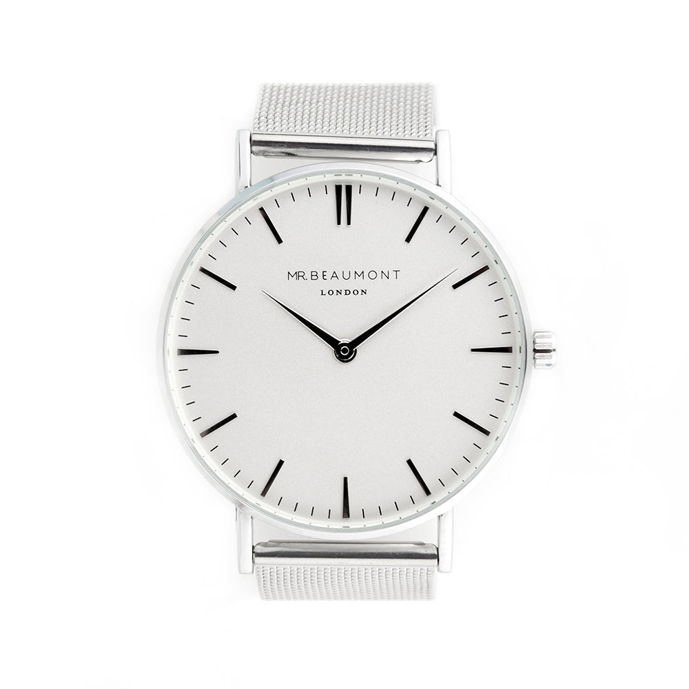Mr Beaumont Personalised Men's Metallic Silver Watch - treat-republic