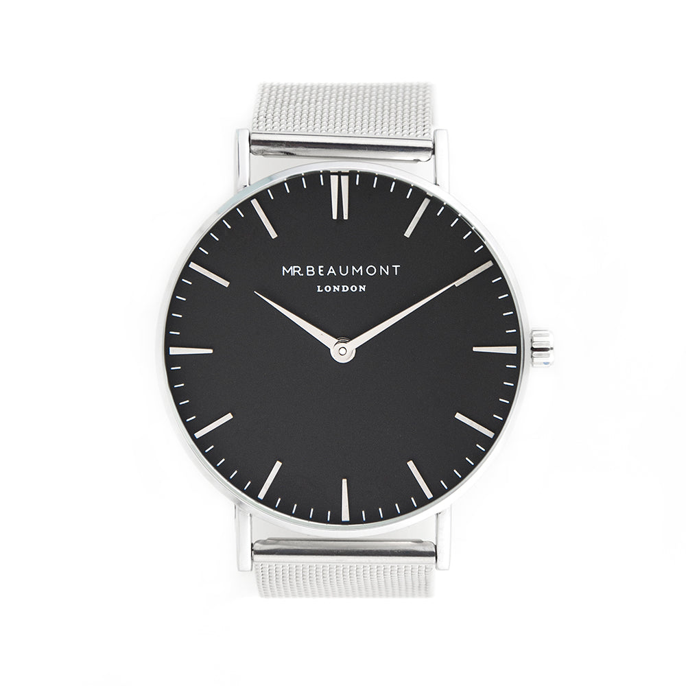 Mr Beaumont Personalised Men's Metallic Silver Watch With Black Face - treat-republic