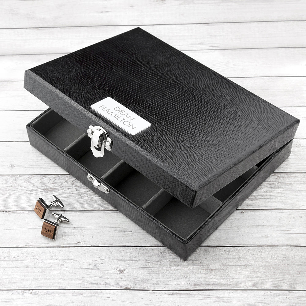 Personalised 12 Compartment Cufflink Box - treat-republic