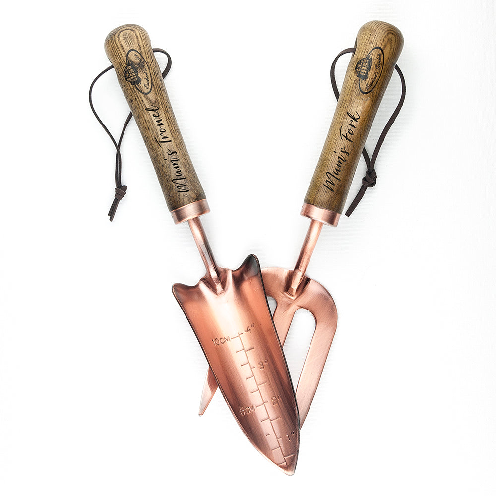 Personalised Luxe Copper Trowel and Fork Set - treat-republic
