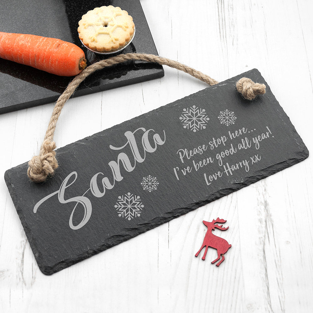 Personalised Santa Please Stop Here Slate Hanging Sign - treat-republic