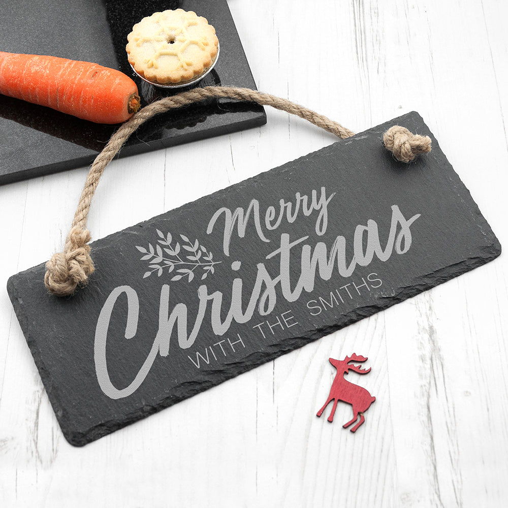 Personalised Merry Christmas Slate Hanging Sign - treat-republic