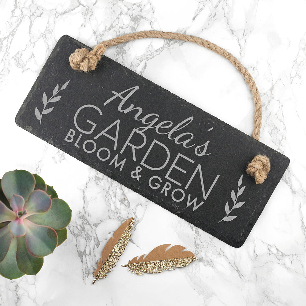 Personalised Our Garden Slate Hanging Sign - treat-republic