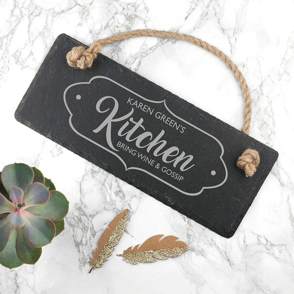 Personalised Our Kitchen Slate Hanging Sign - treat-republic