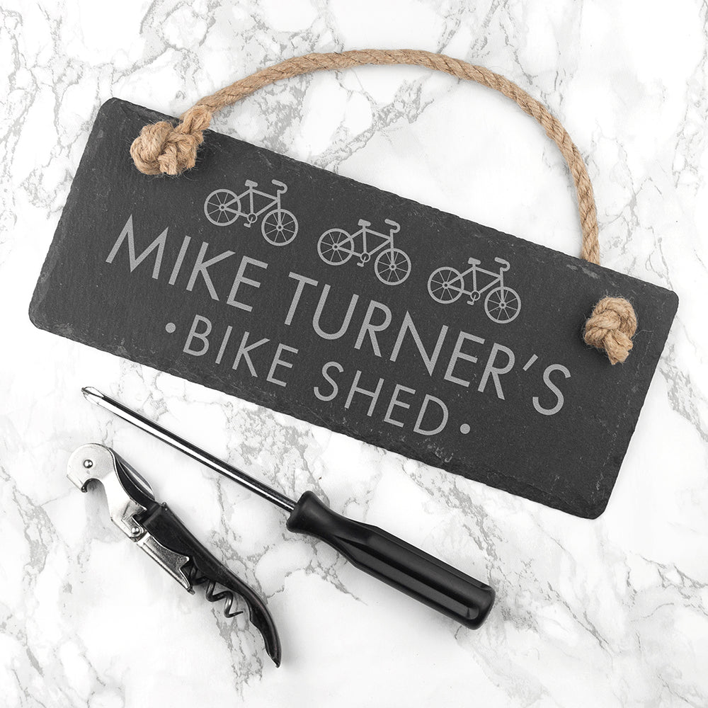 Personalised I Bloody Love My Bicycle Slate Hanging Sign