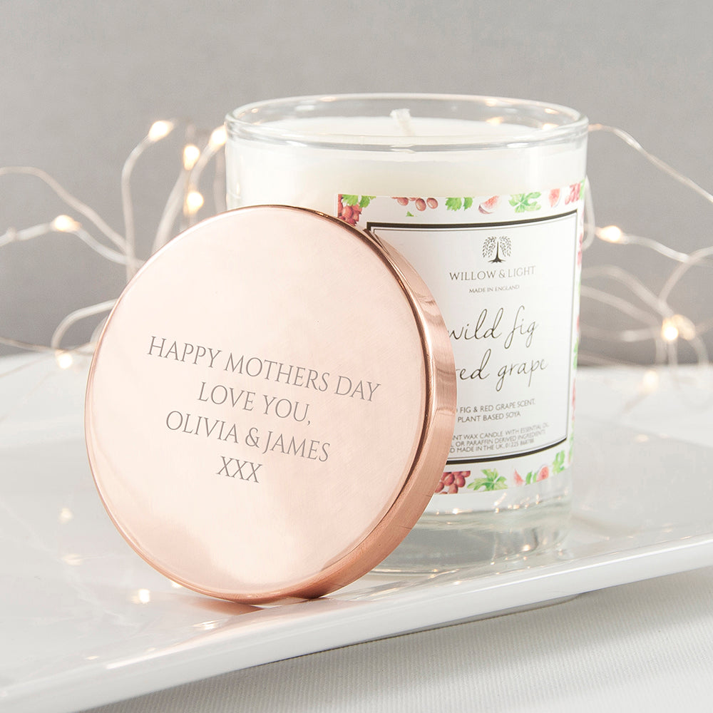 Personalised Wild Fig & Red Grape Candle With Copper Lid - treat-republic
