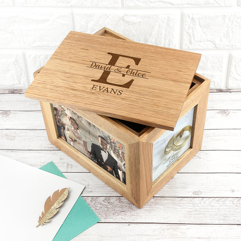 Personalised Couple Monogram Midi Oak Photo Cube Keepsake Box