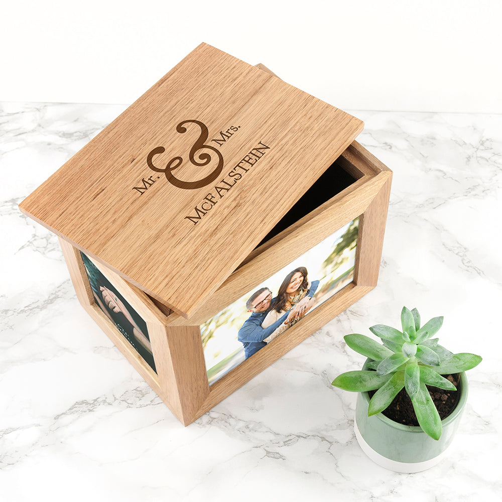 Personalised Classic Mr & Mrs Midi Oak Photo Cube Keepsake Box - treat-republic