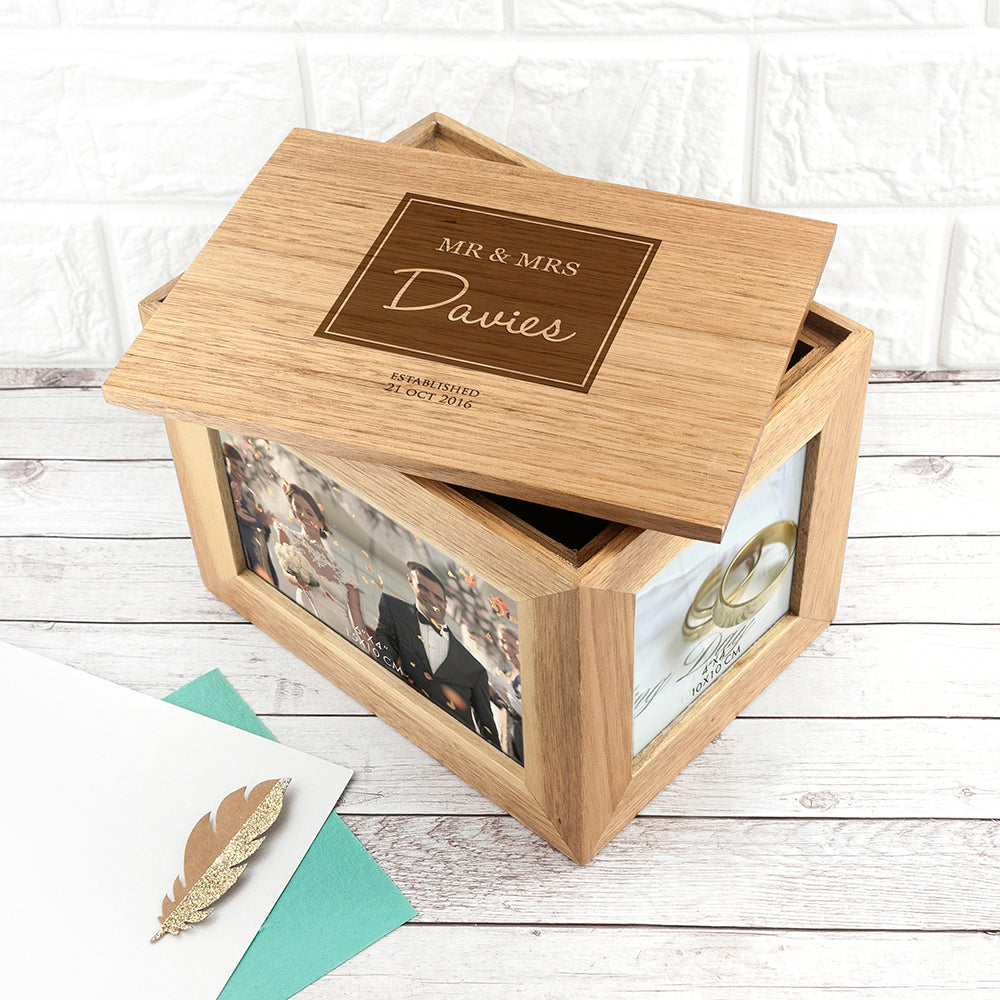 Personalised Contemporary Mr & Mrs Midi Oak Photo Cube Keepsake Box - treat-republic