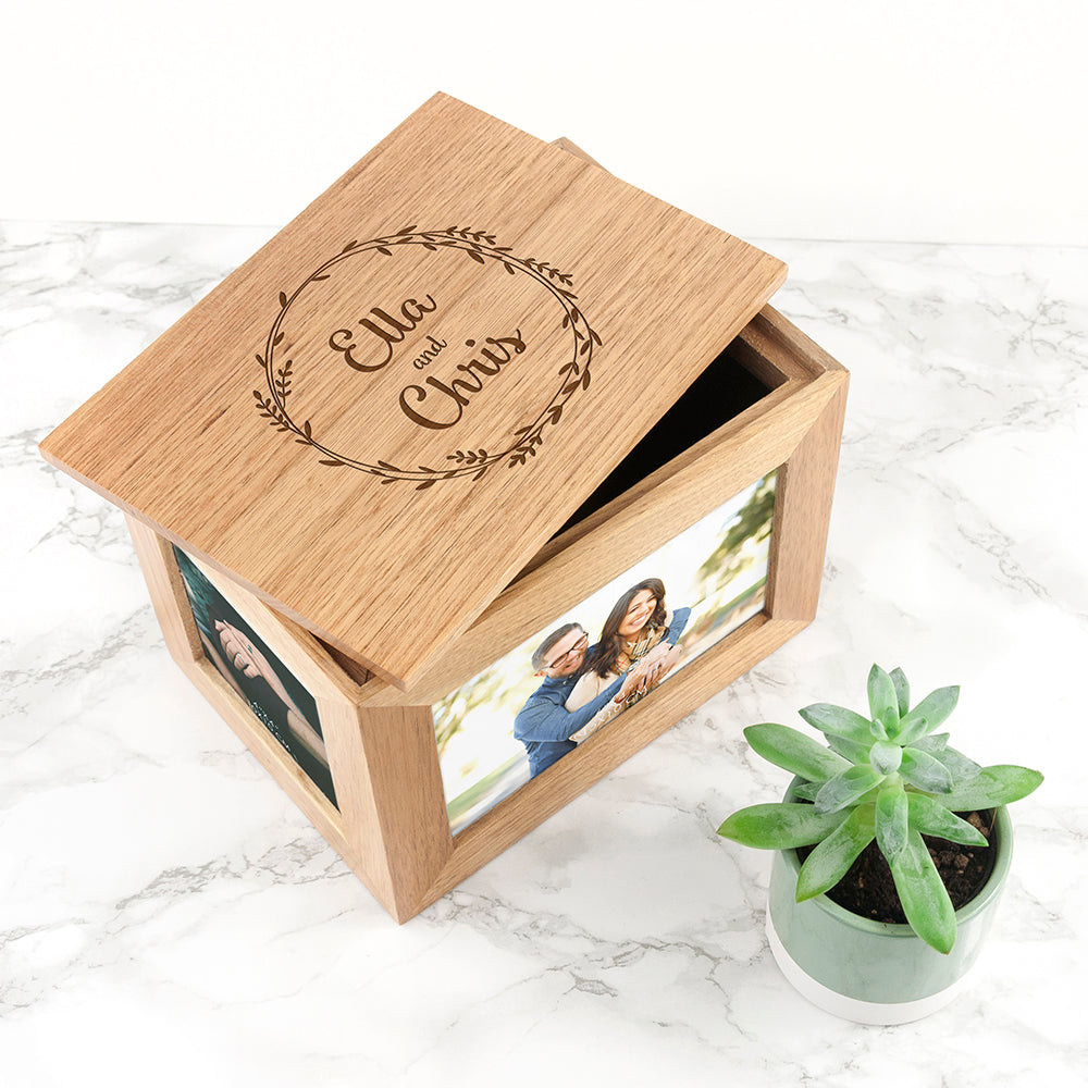 Personalised Couples' Midi Oak Photo Cube Keepsake Box With Wreath Design - treat-republic