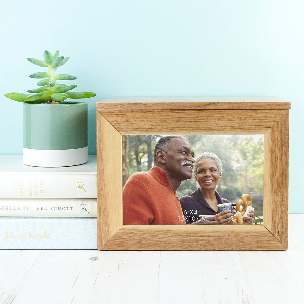 Personalised Couples' Midi Oak Photo Cube Keepsake Box With Wreath Design