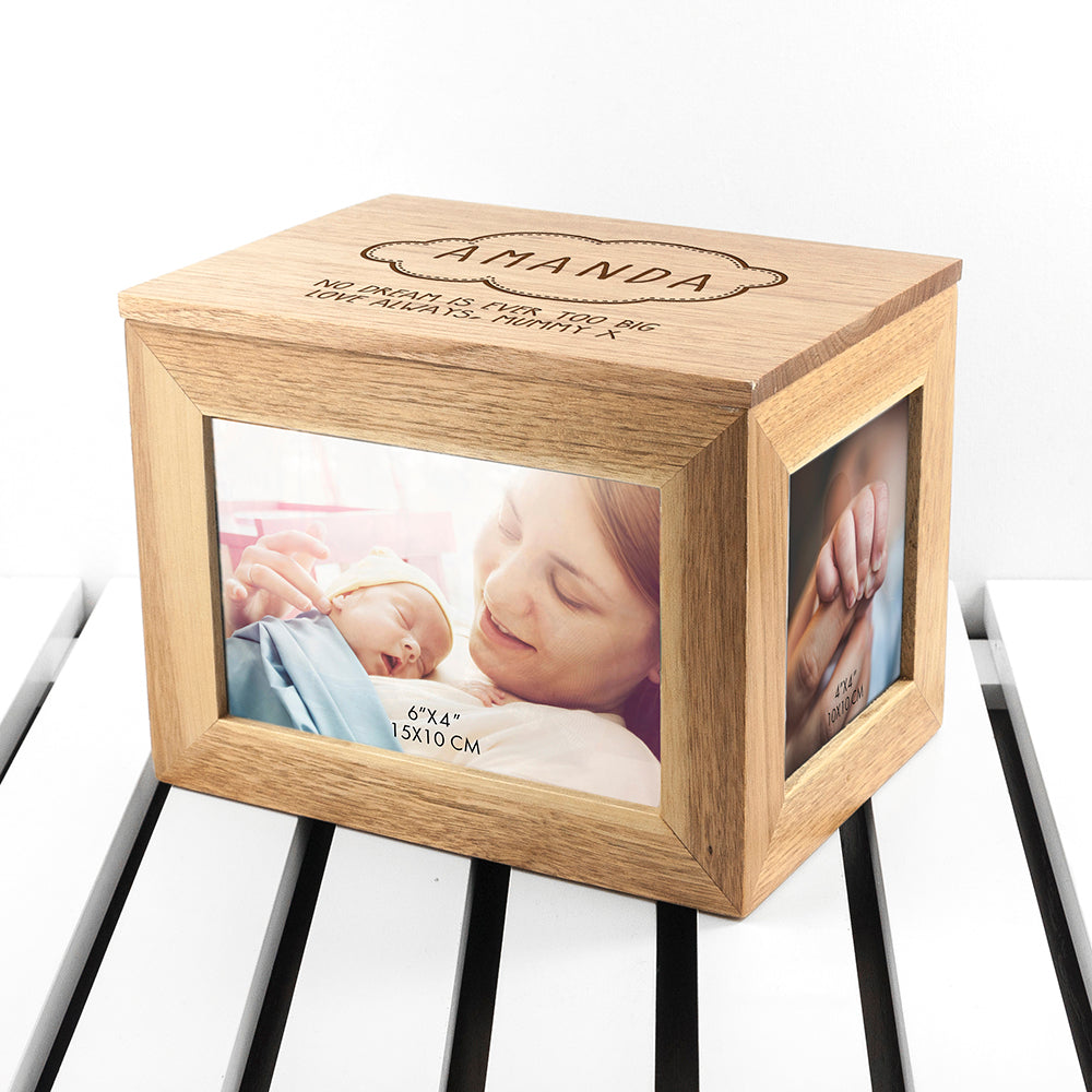 Personalised Baby Name In Cloud Midi Oak Photo Cube Keepsake Box - treat-republic