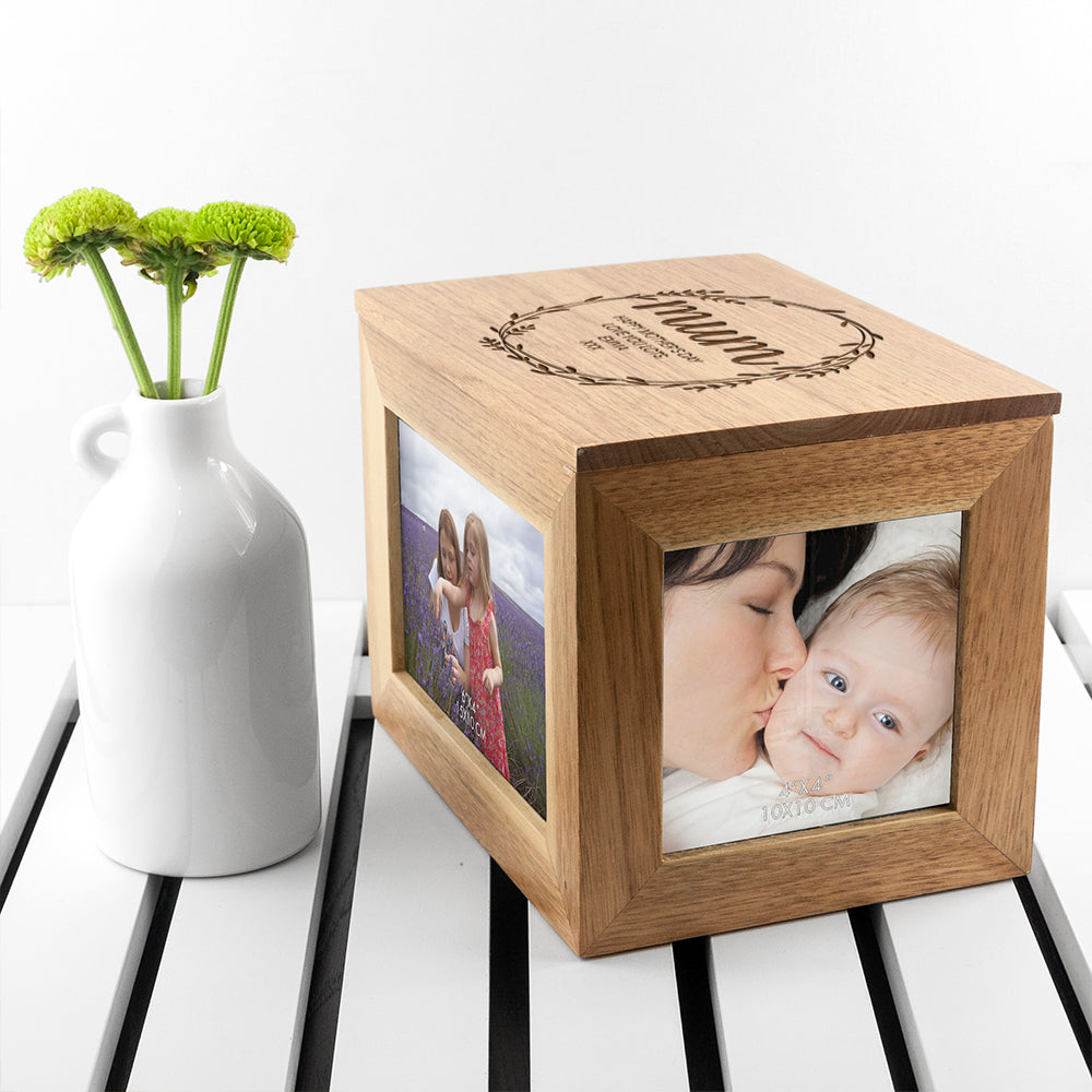 Personalised Wreath Mother's Day Midi Oak Photo Cube Keepsake Box
