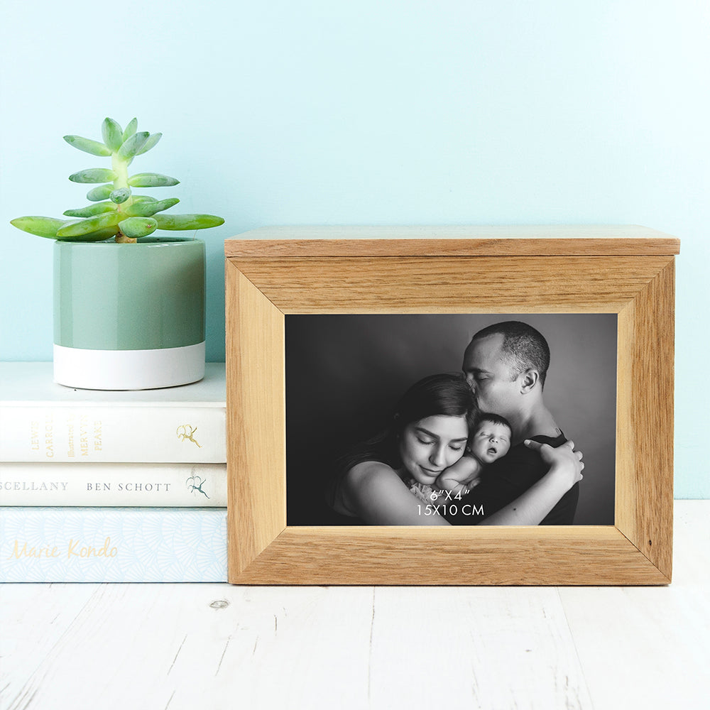 Personalised Wreath Mother's Day Midi Oak Photo Cube Keepsake Box - treat-republic