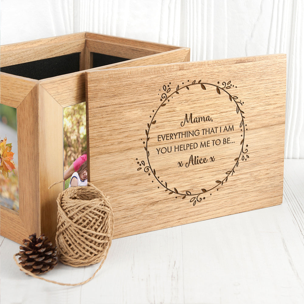 Personalised Thank You Mum Midi Oak Photo Cube Keepsake Box - treat-republic