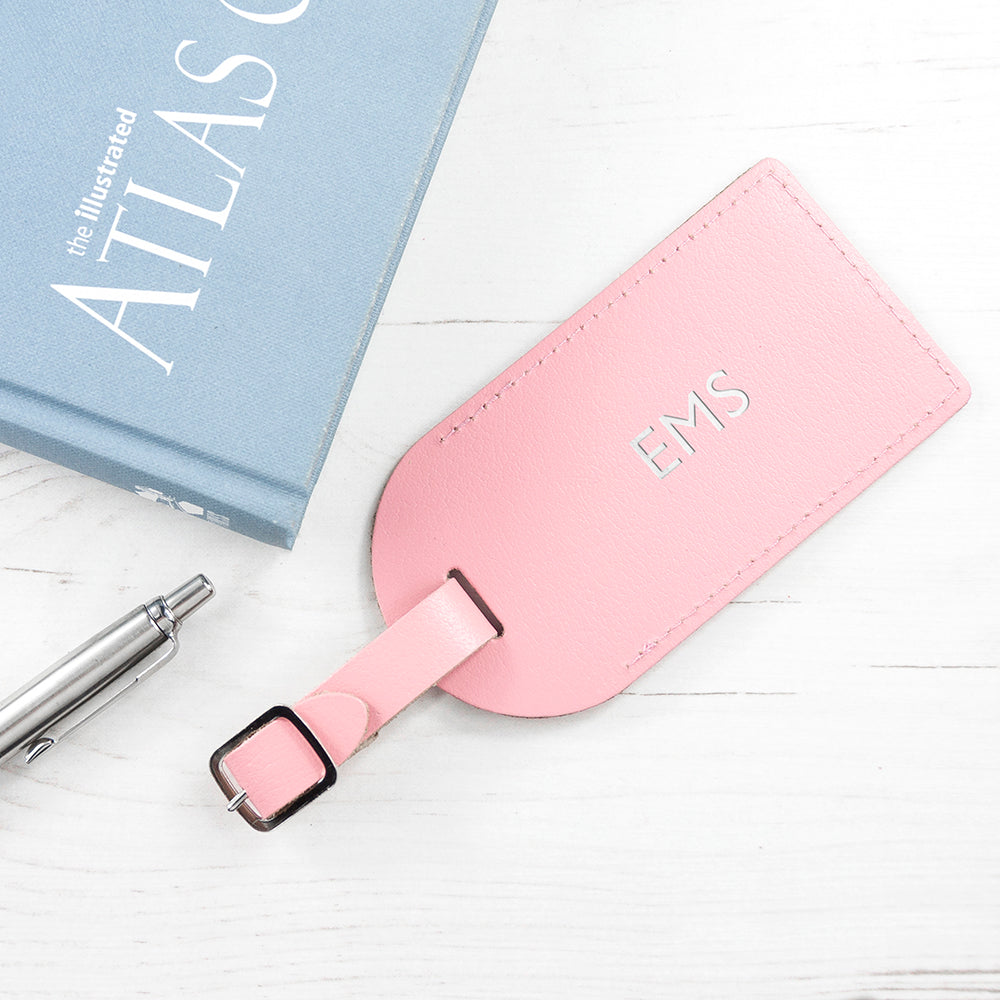 Personalised Pastel Pink Foiled Leather Luggage Tag