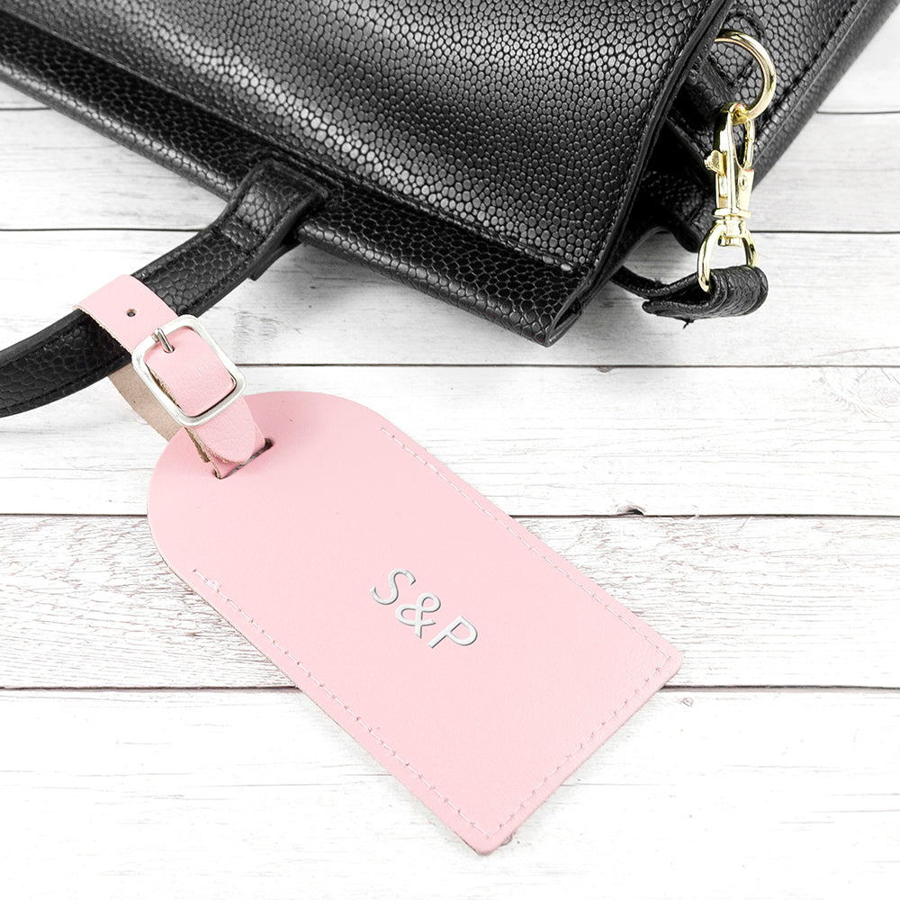Personalised Pastel Pink Foiled Leather Luggage Tag - treat-republic