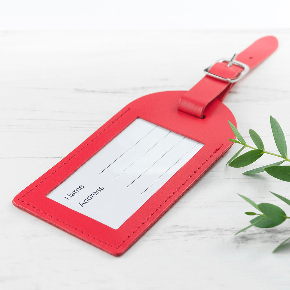 Personalised Red Foiled Leather Luggage Tag