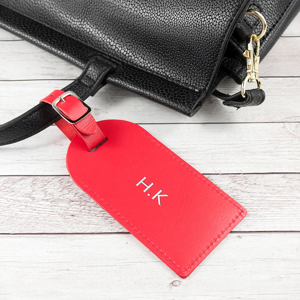 Personalised Red Foiled Leather Luggage Tag - treat-republic
