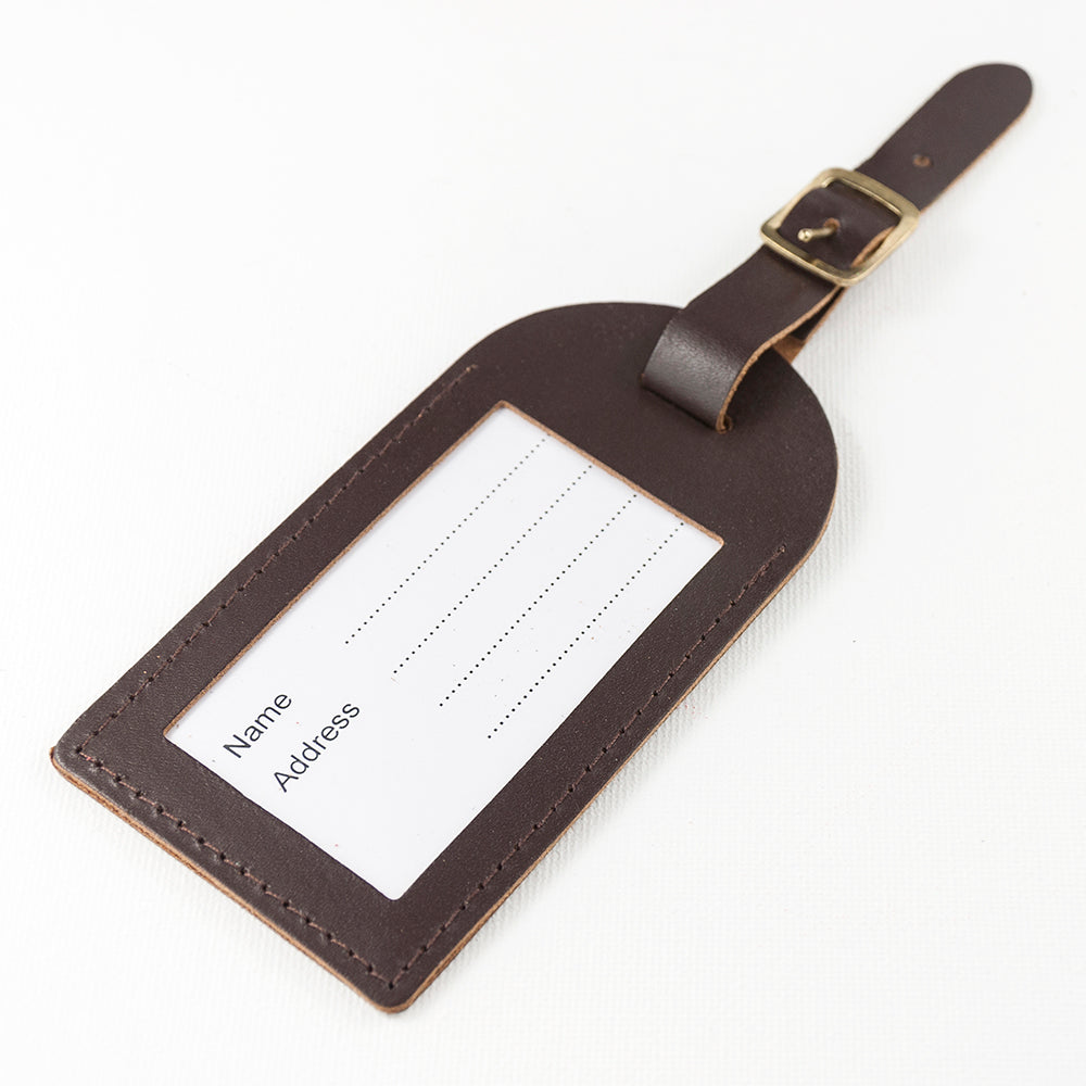 Personalised Brown Foiled Leather Luggage Tag - treat-republic