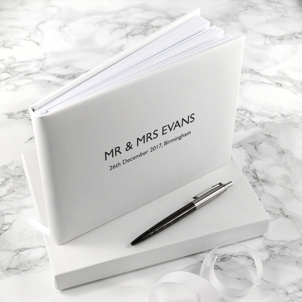 Engraved White Leather Wedding Guest Book