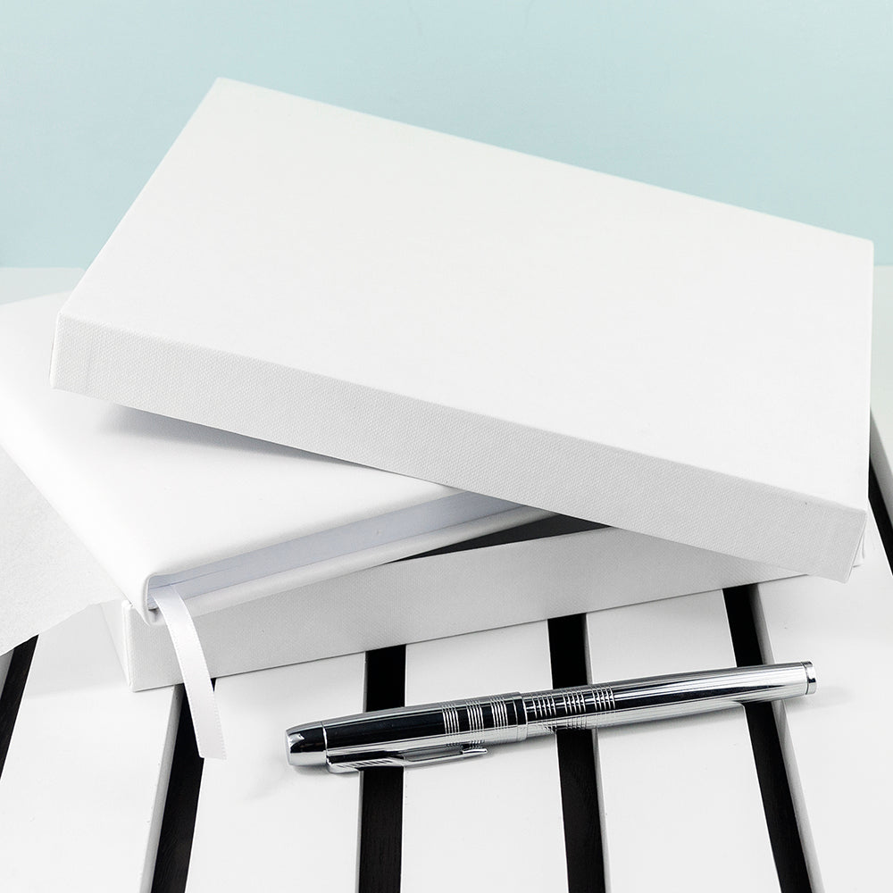 Personalised White Leather Wedding Guest Book - treat-republic