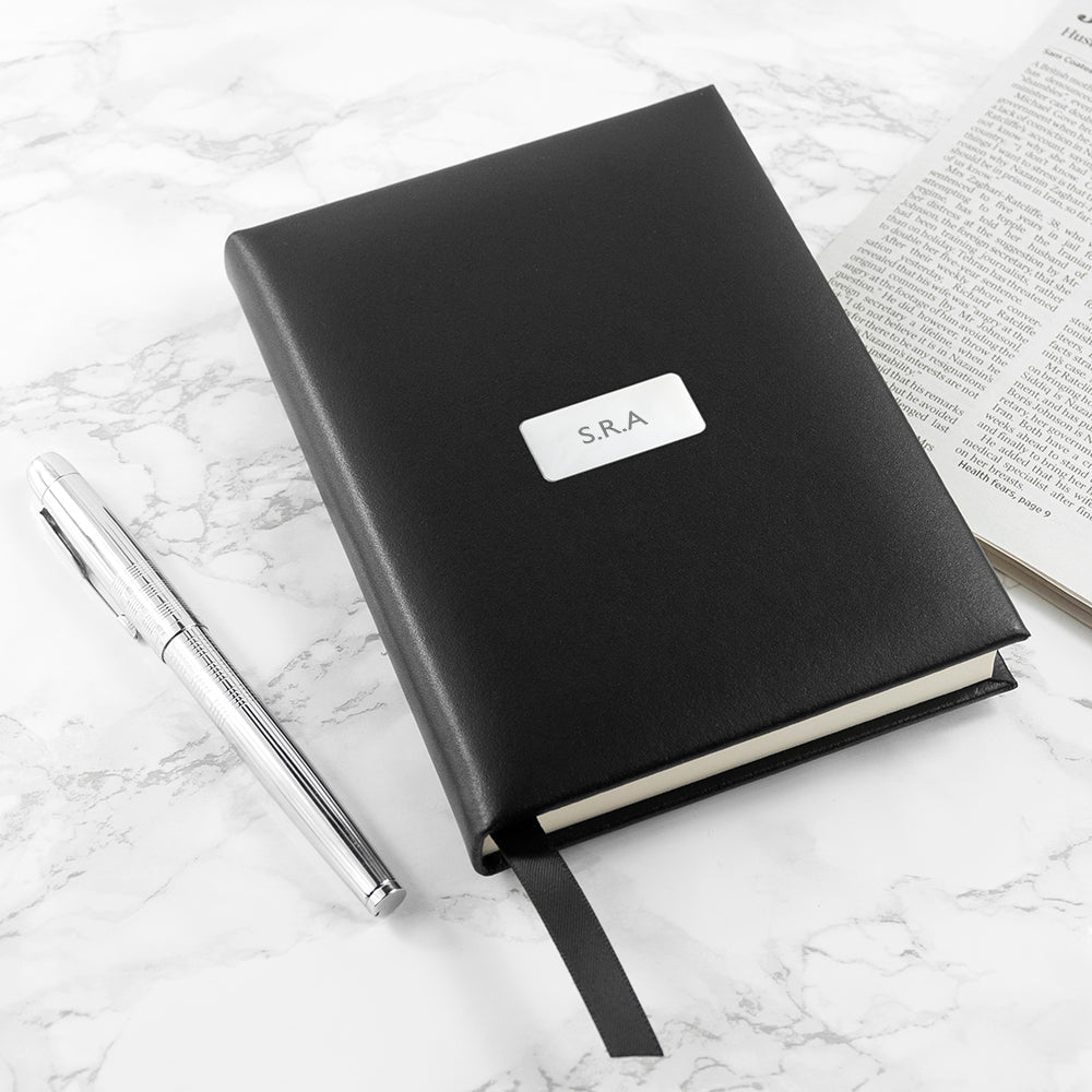 Personalised Black Leather Notebook - treat-republic