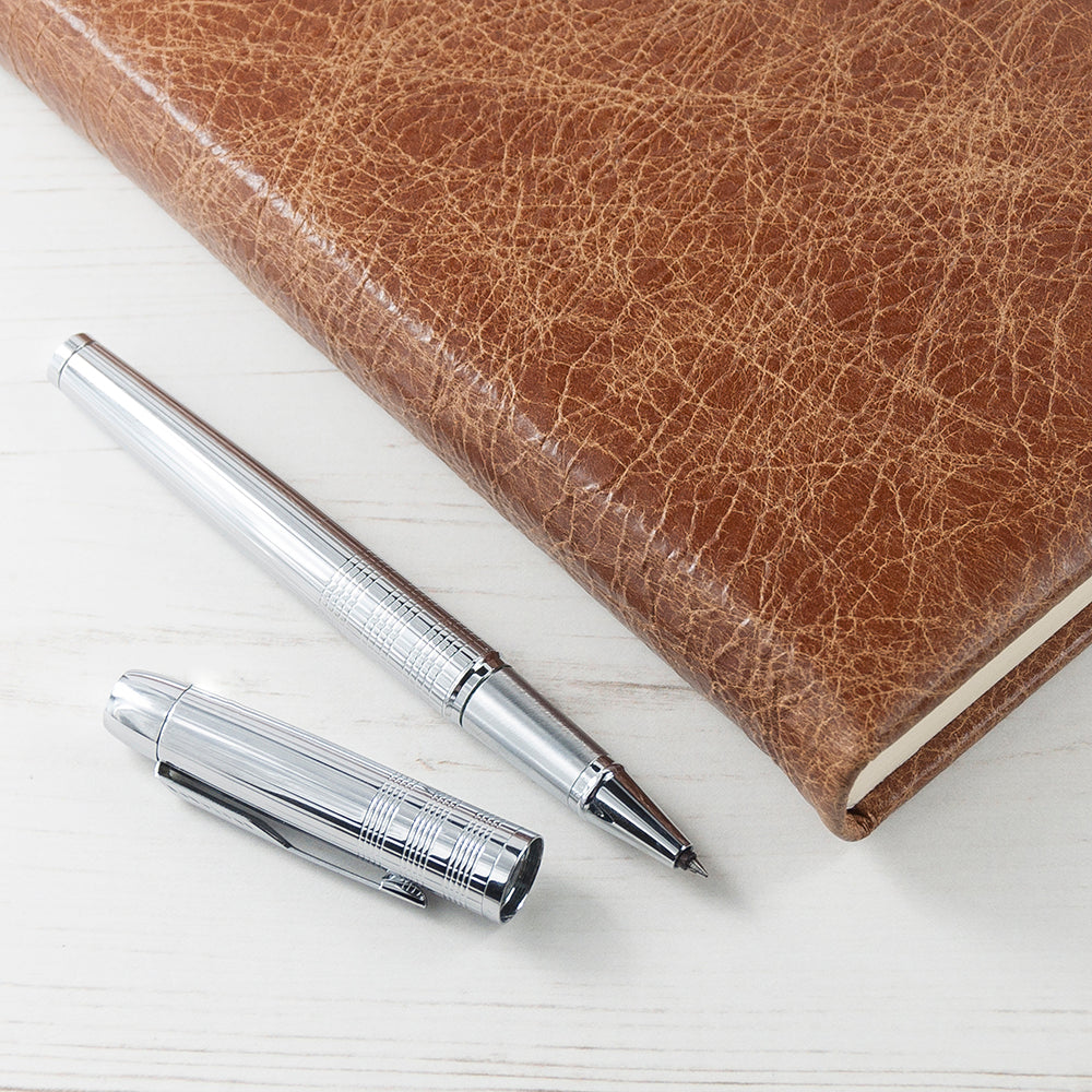 Engraved Natural Tan Leather Notebook - treat-republic