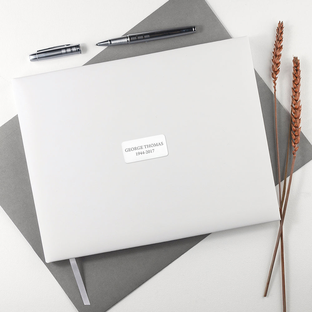 Personalised White Leather Memoriam Book - treat-republic