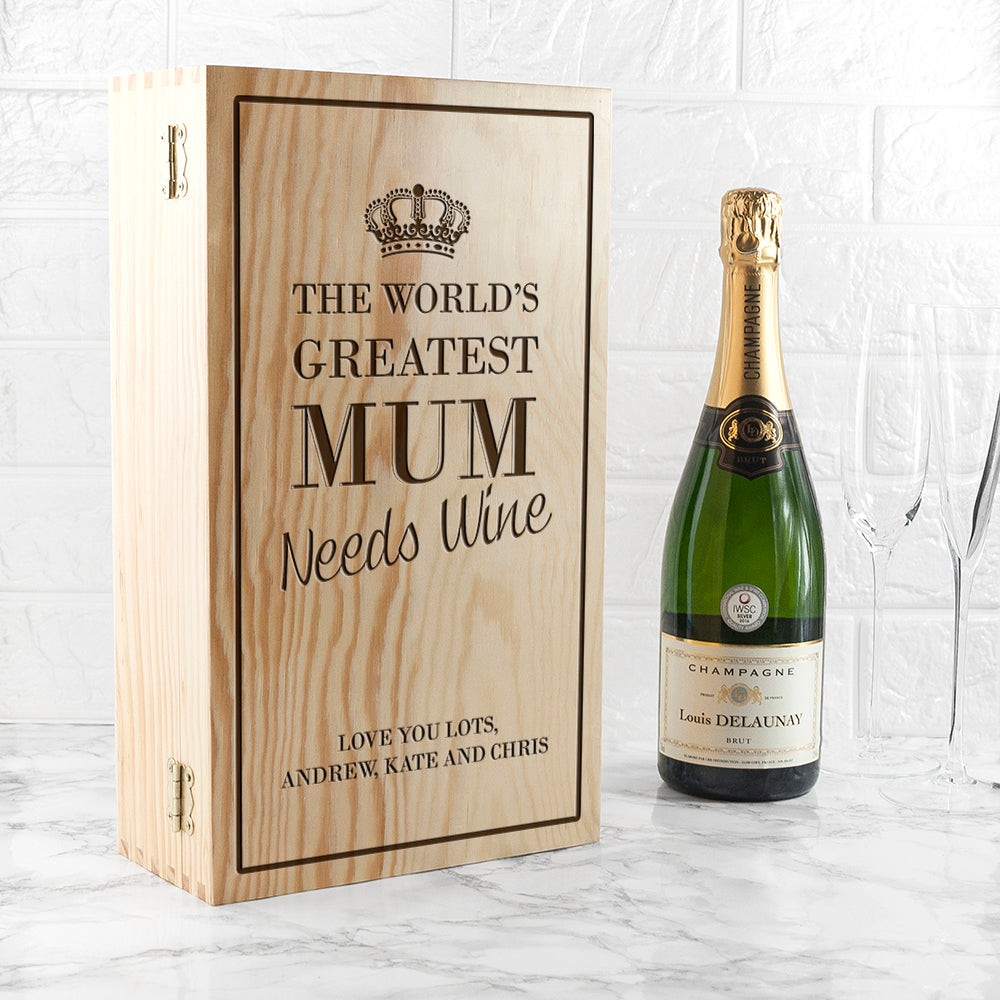 Personalised World's Greatest Mum Wine Box - treat-republic