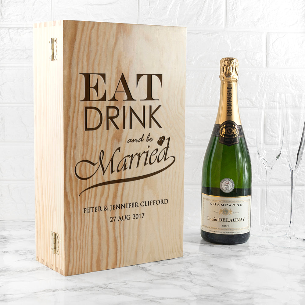 Personalised Eat, Drink and Be Married Wine Box