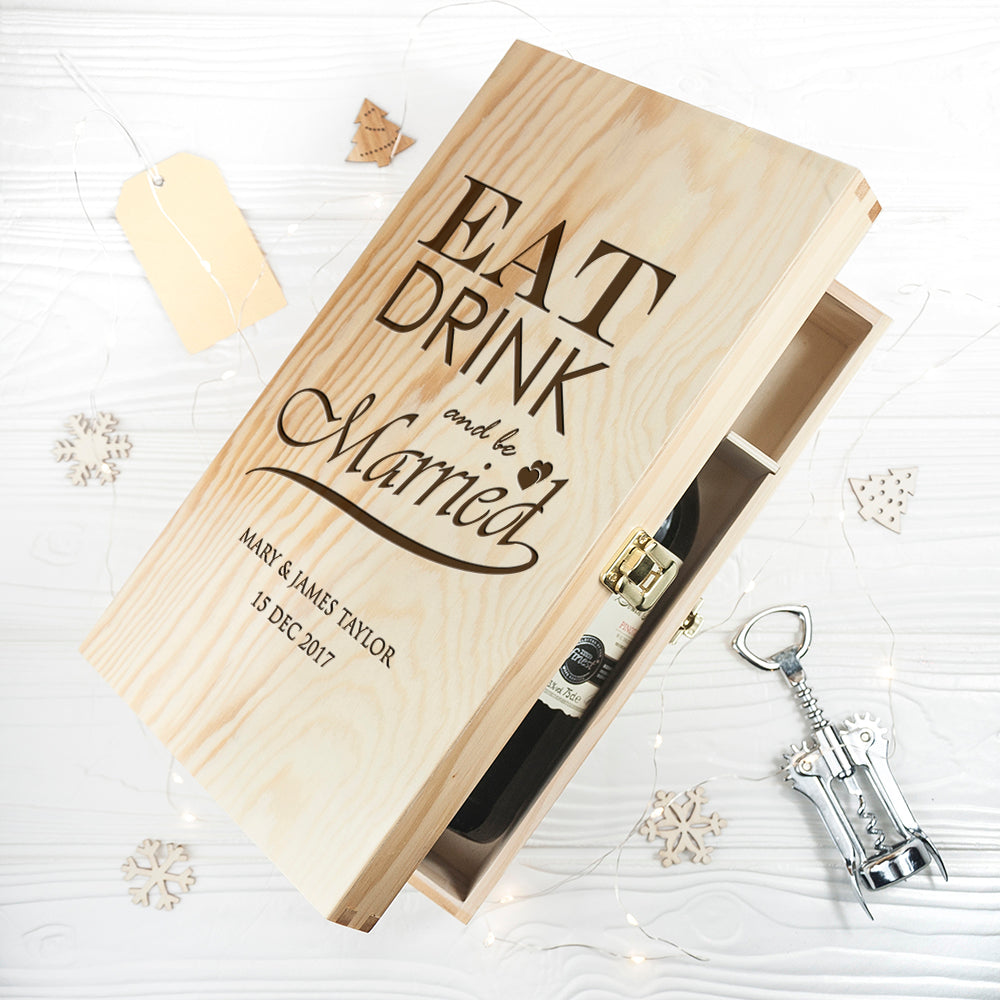 Personalised Eat, Drink and Be Married Wine Box - treat-republic