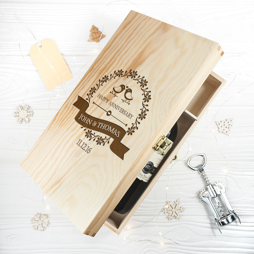 Personalised Happy Anniversary Wine Box
