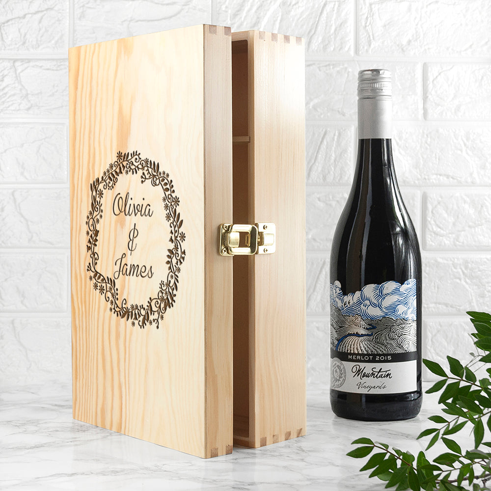 Personalised Couple Name In Floral Frame Wine Box - treat-republic