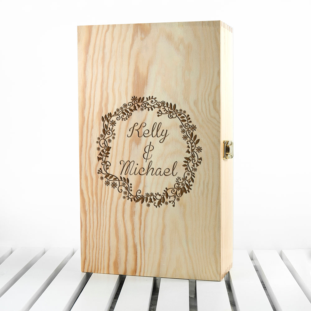 Personalised Couple Name In Floral Frame Wine Box