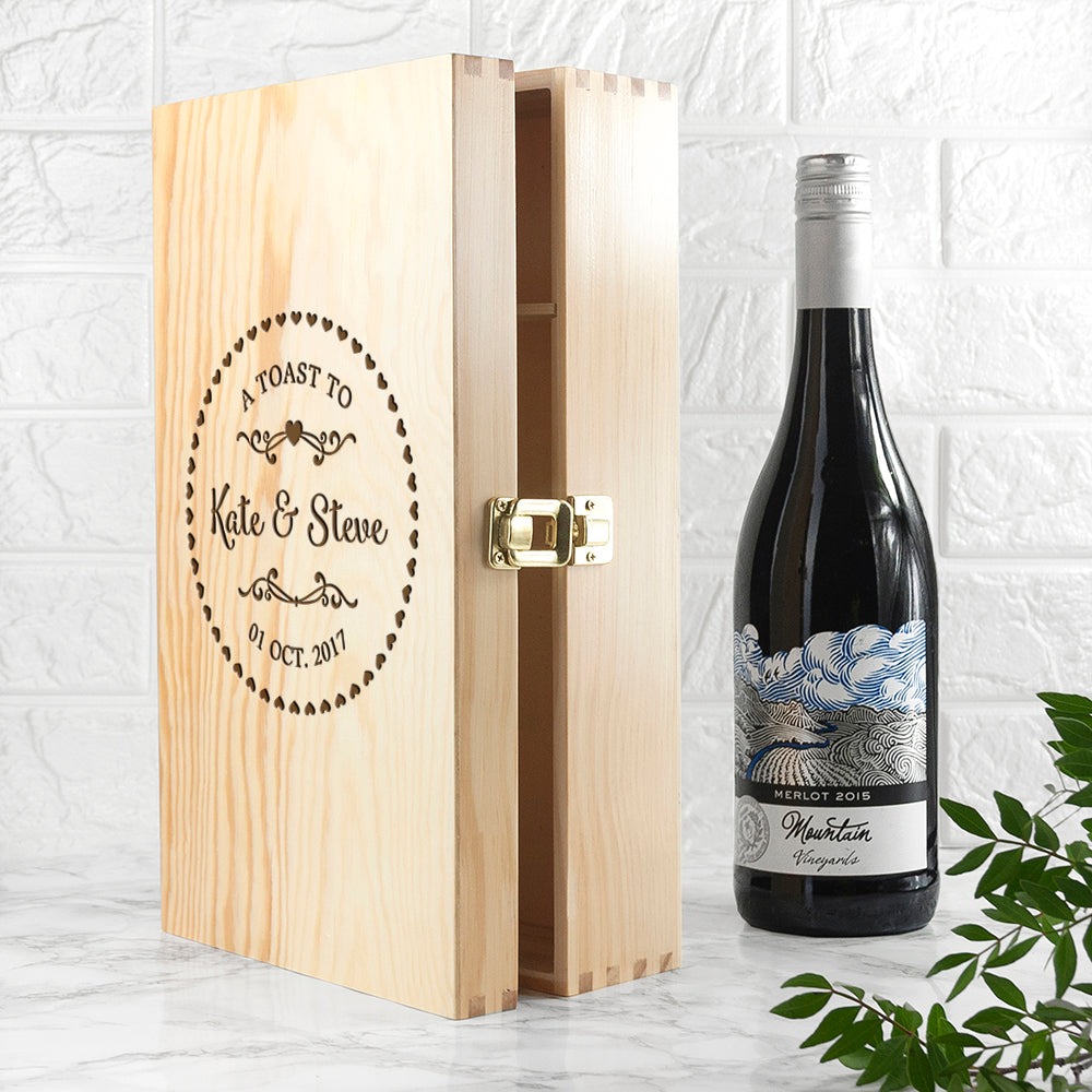Personalised Couple Name In Heart Frame Wine Box - treat-republic
