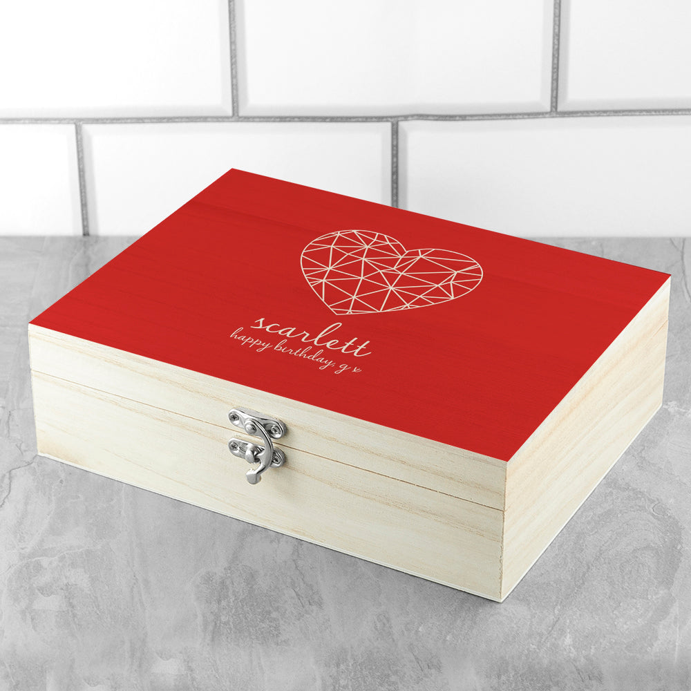 Personalised Geometric Heart Tea Box - treat-republic