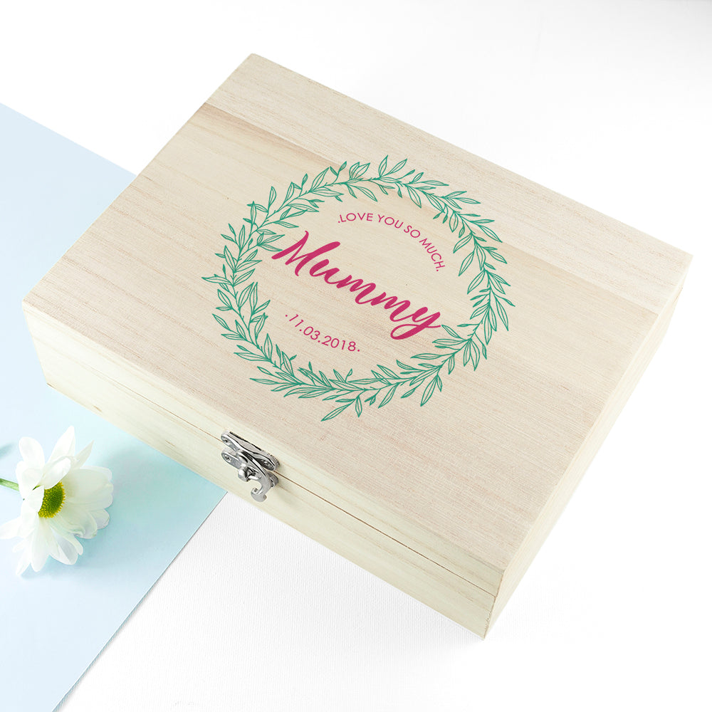 Personalised Leaf Wreath Mother's Day Tea Box - treat-republic
