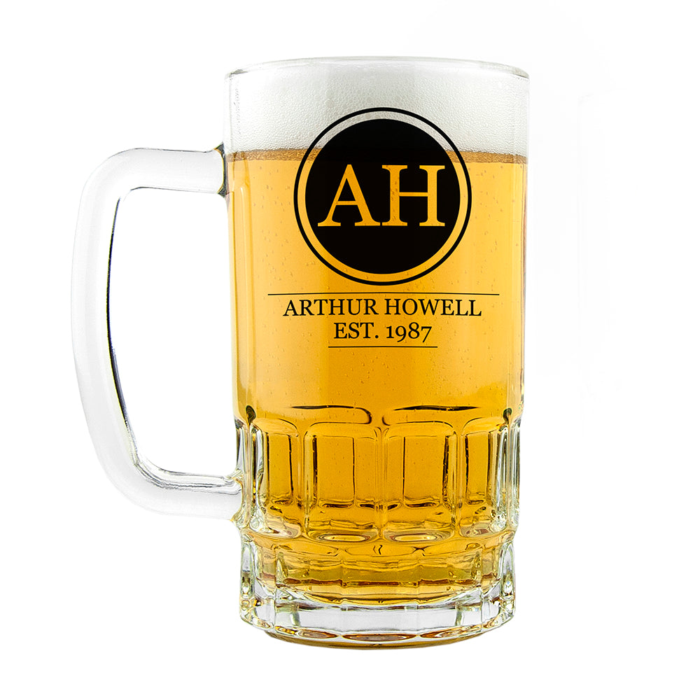 Circle Monogram Beer Glass Tankard