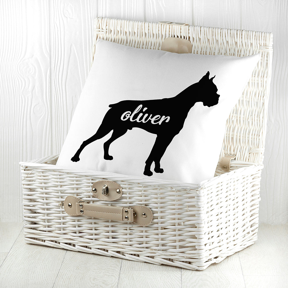 Personalised Boxer Silhouette Cushion Cover