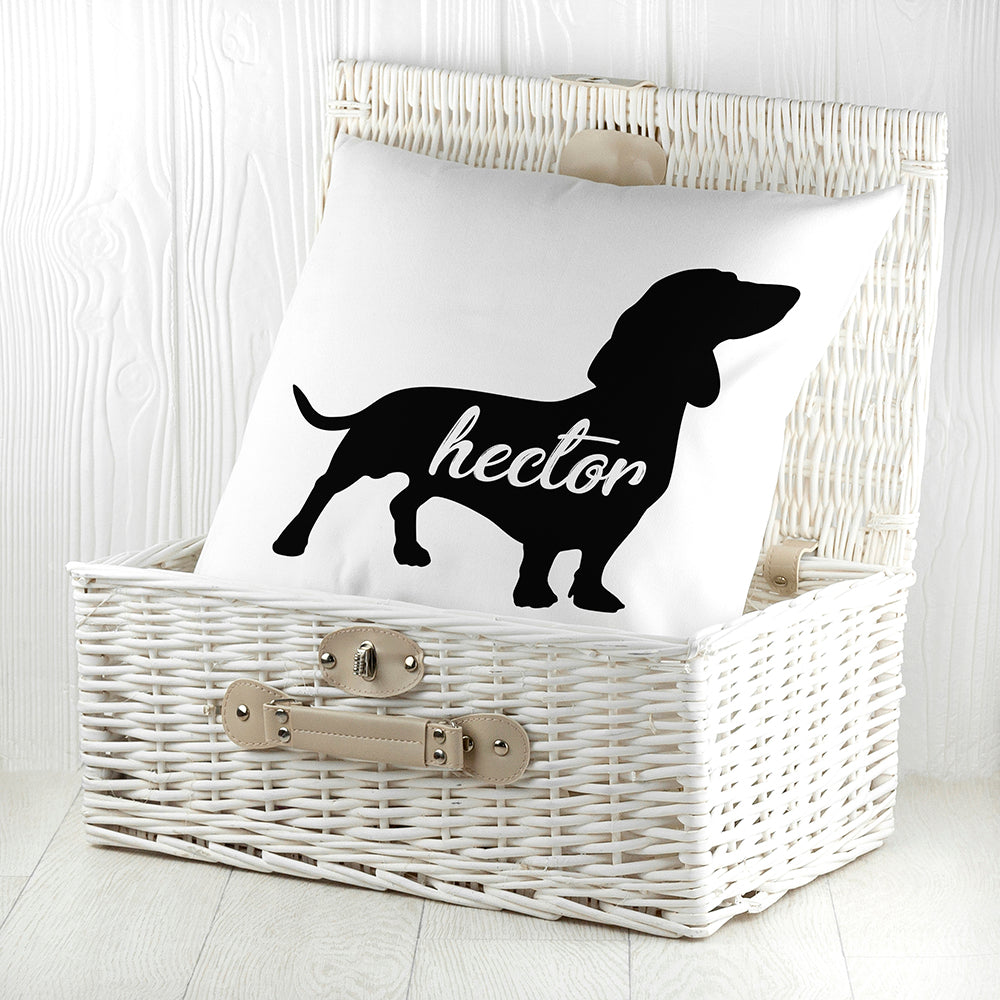 Personalised Daschund Silhouette Cushion Cover - treat-republic