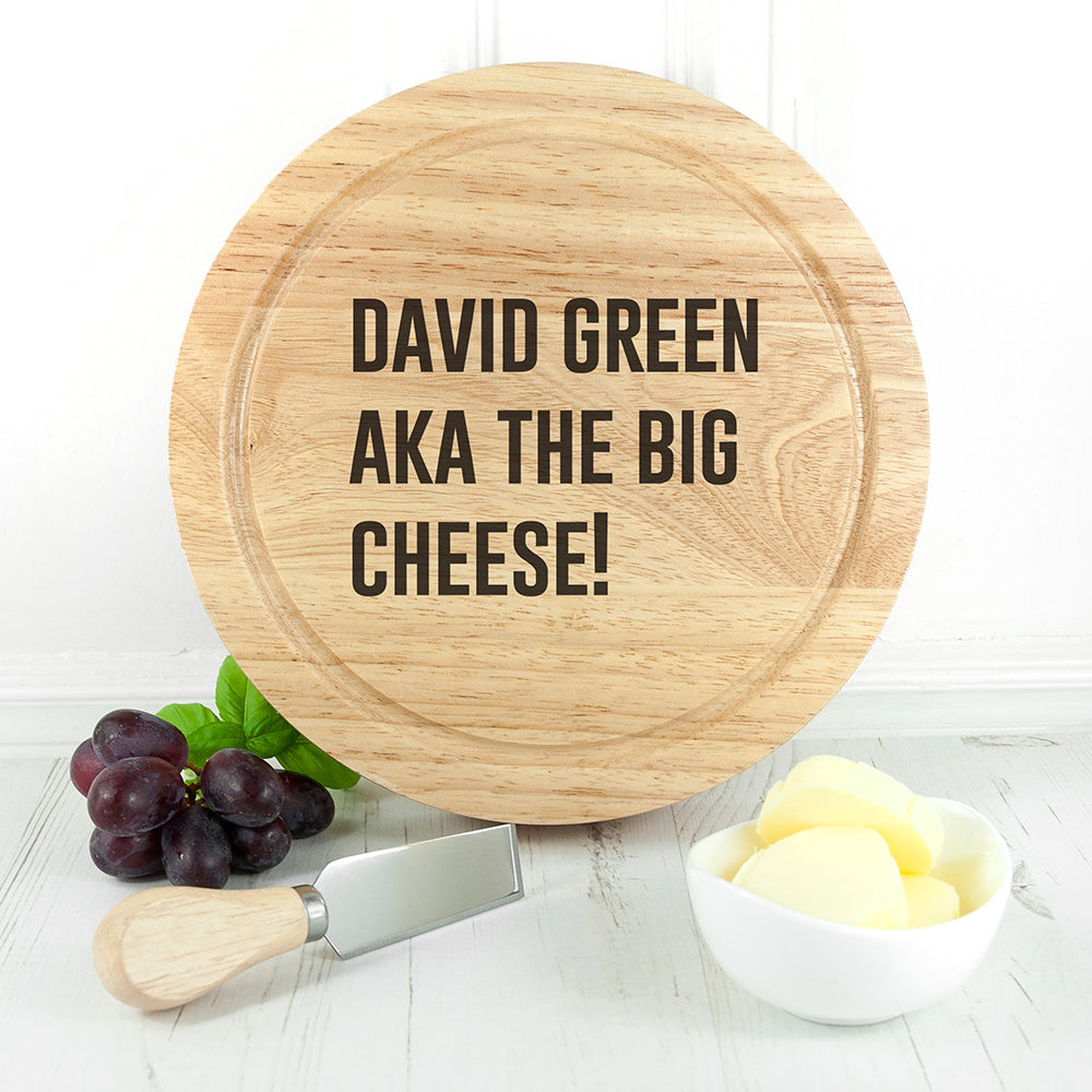 Personalised Cheese Lover Round Board Set - treat-republic